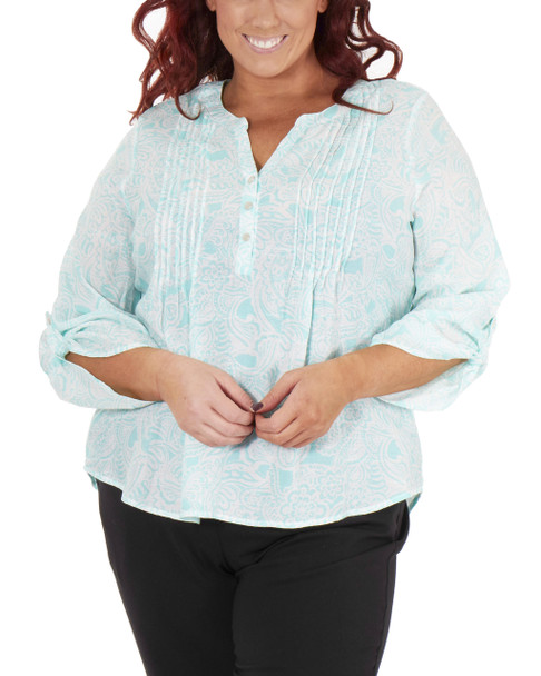 Plus Size 3/4 Sleeve Y Neck Front Pleated Top~White Dotgarden*WRJU0555