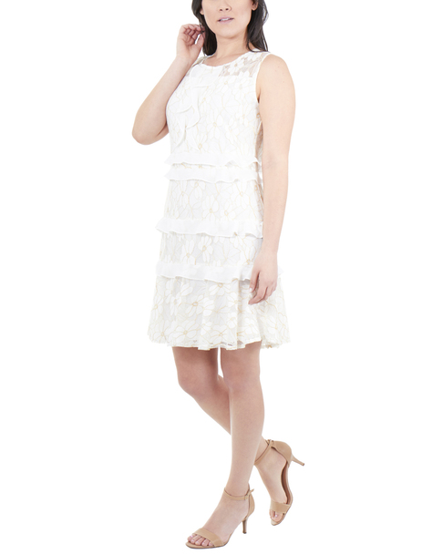 Sleeveless Ruffle Detail Dress~White Sparkleflor*JLAD0288