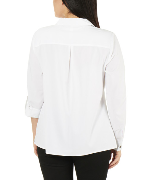 3/4 Roll Tab Sleeve Button Down Blouse~White*MCDB0416