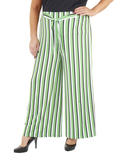 Plus Size Striped Tie Front Pants~Yellow Skystripe*WITP0706