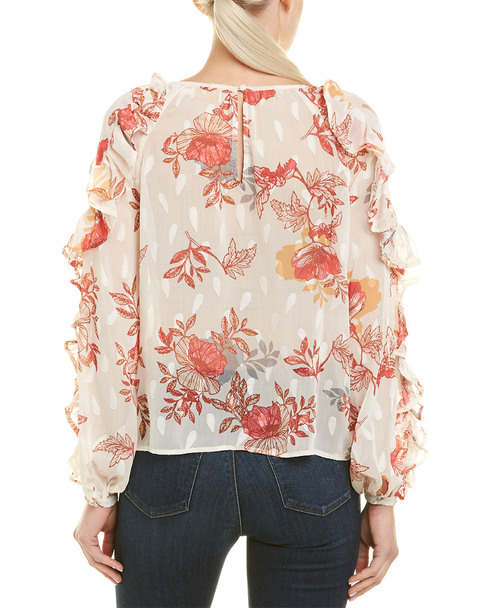 Champagne & Strawberry Floral Ruffle Top~1411128563