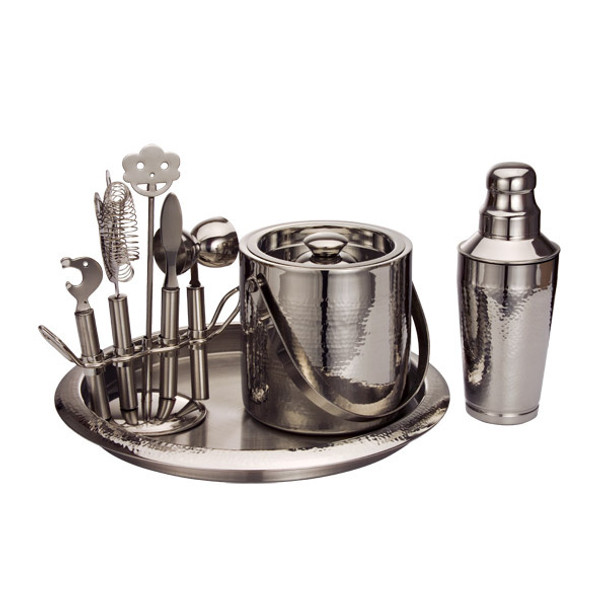 9-Piece Hammered Metal Bar Set