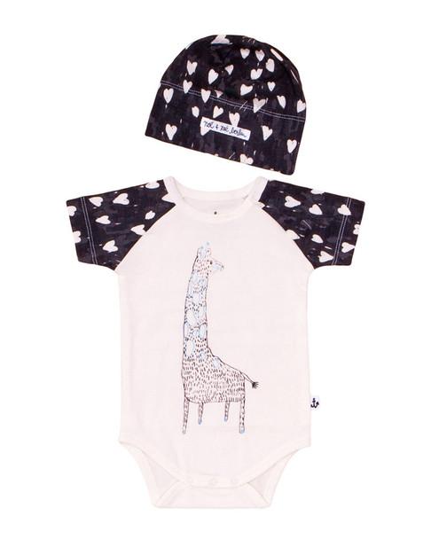 Noe & Zoe Berlin Giraffe One Piece & Hat Set~1511901674