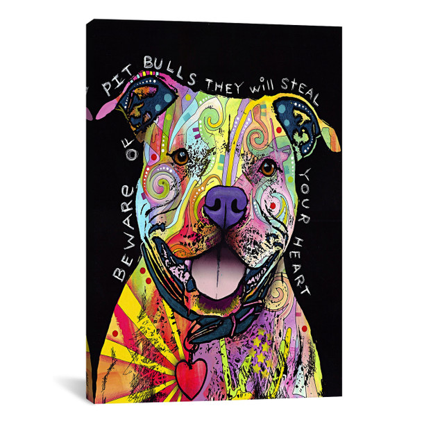 iCanvas ''Beware of Pit Bulls'' by Dean Russo Gallery-Wrapped Canvas Print~4231-1PC3