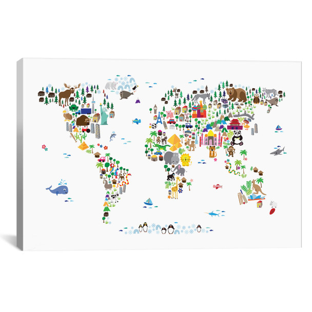 iCanvas ''Animal Map of The World'' by Michael Tompsett Gallery-Wrapped Canvas Print~8762-1PC3