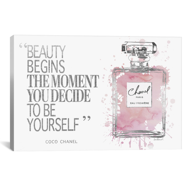 iCanvas ''Beauty Begins Perfume Bottle, Silver & Muted Pink'' by Amanda Greenwood Gallery-Wrapped Canvas Print~GRE136-1PC3