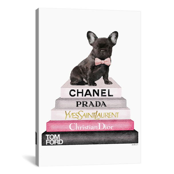 iCanvas ''Bookstack Grey Pink White Black & French Bulldog'' by Amanda Greenwood Gallery-Wrapped Canvas Print~GRE145-1PC3