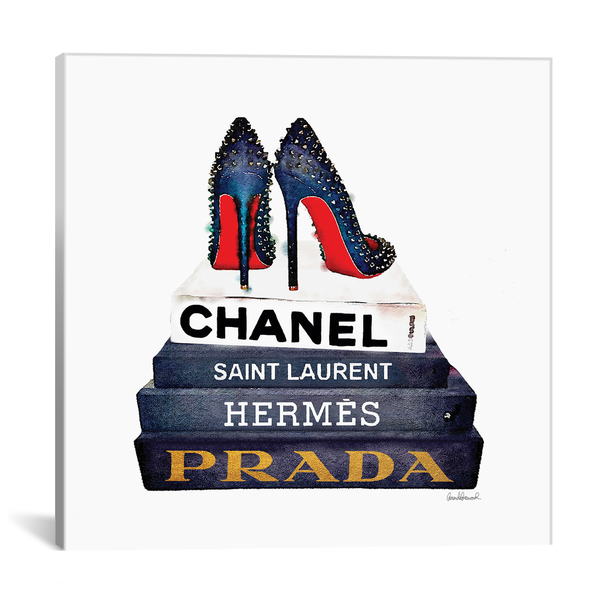 iCanvas ''Stack Of Fashion Books With Spiked Shoes'' by Amanda Greenwood Gallery-Wrapped Canvas Print~GRE84-1PC3