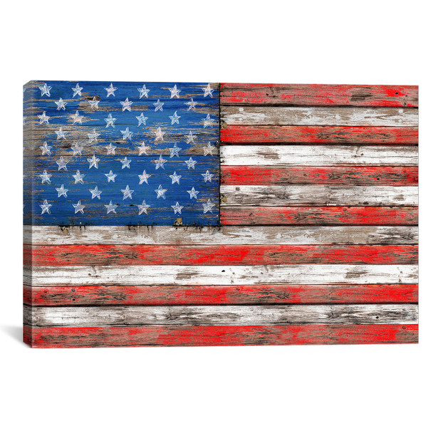 iCanvas ''USA Vintage Wood'' by Diego Tirigall Gallery-Wrapped Canvas Print~MXS30-1PC3
