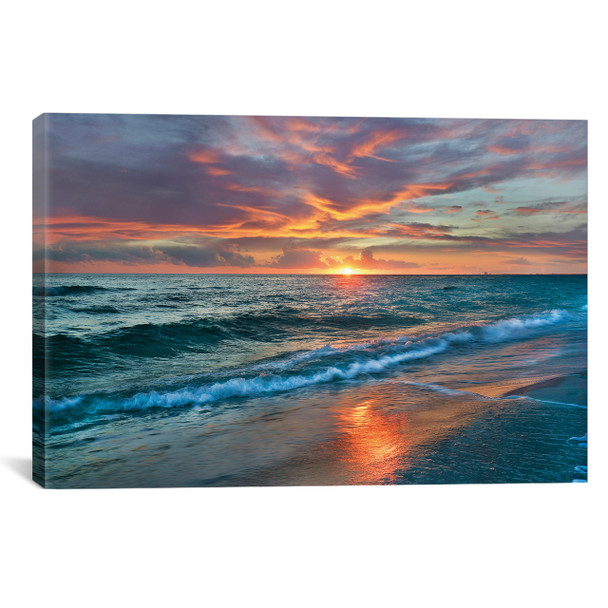 iCanvas ''Sunset Over Ocean, Gulf Islands National Seashore, Florida'' by Tim Fitzharris Gallery-Wrapped Canvas Print~TFI1062-1PC3