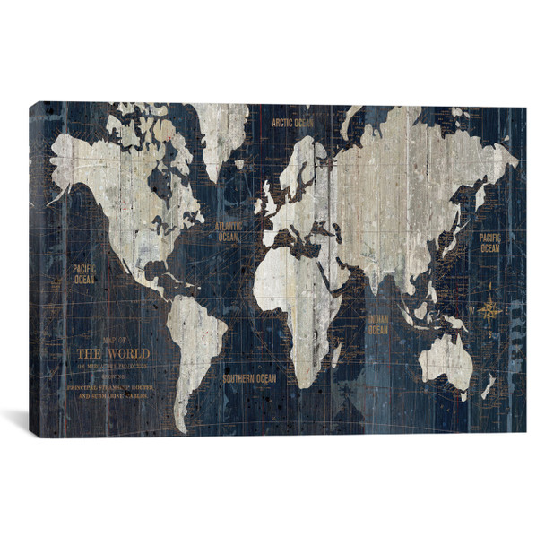iCanvas ''Old World Map Blue'' by Wild Apple Portfolio Gallery-Wrapped Canvas Print~WAC1993-1PC3