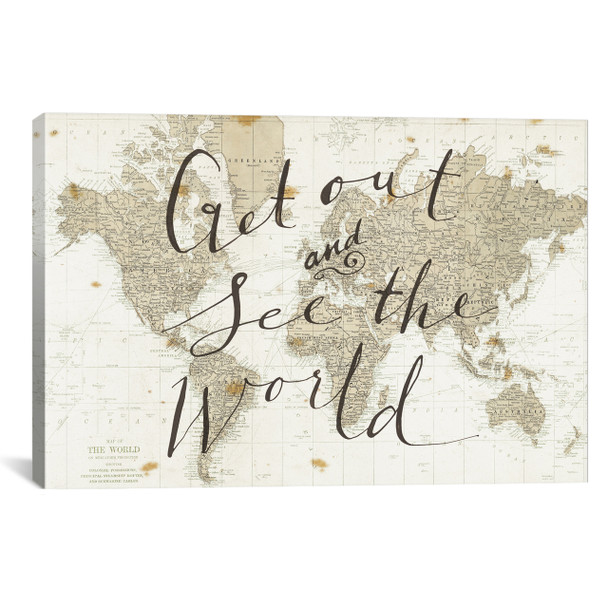 iCanvas ''Get Out and See the World'' by Sara Zieve Miller Gallery-Wrapped Canvas Print~WAC3125-1PC3