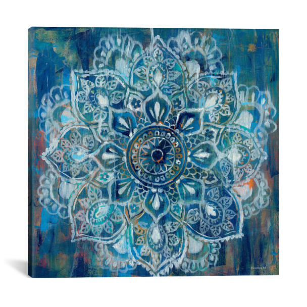 iCanvas ''Mandala in Blue II'' by Danhui Nai Gallery-Wrapped Canvas Print~WAC4194-1PC3