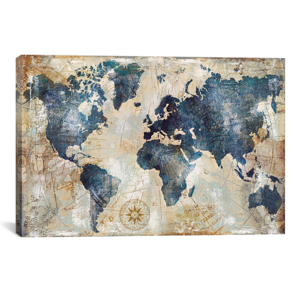 iCanvas ''World Map Indigo'' by Xander Blue Gallery-Wrapped Canvas Print~XBL56-1PC3