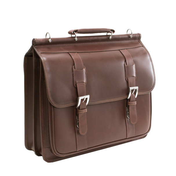 "Siamod SIGNORINI 15"" Leather Double Compartment Laptop Briefcase~25594"