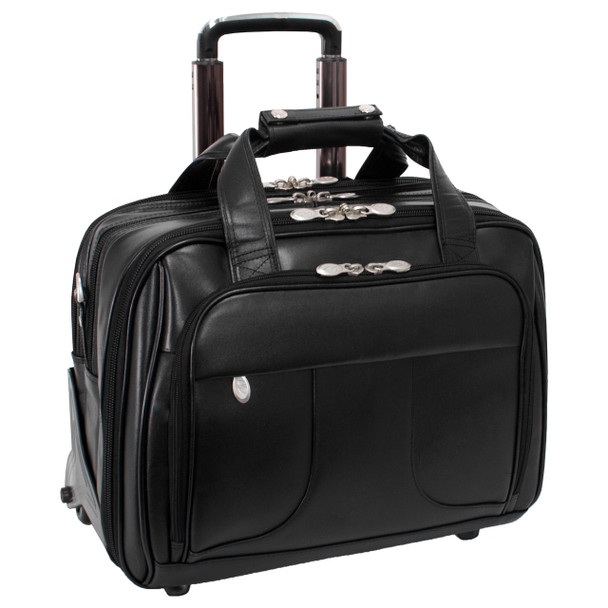 "McKlein CHICAGO 15"" Leather Patented Detachable Wheeled Laptop with Removable Briefcase~83585"