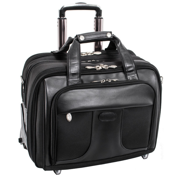 "McKlein CHICAGO 15"" Nylon Patented Detachable Wheeled Laptop with Removable Briefcase~73585"