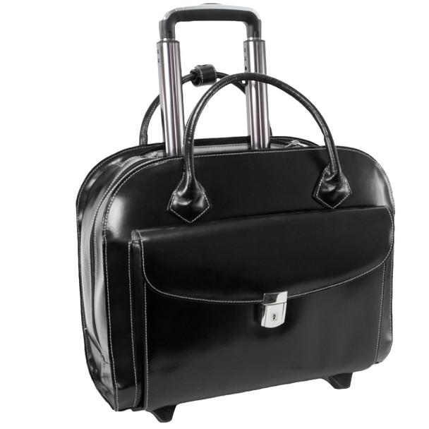 """McKlein GRANVILLE 15"""" Leather Wheeled Ladies' Laptop Briefcase~9614"""