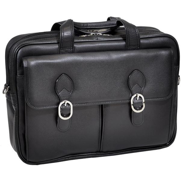 """McKlein HYDE PARK 15"""" Leather Double Compartment Laptop Briefcase~15735C"""