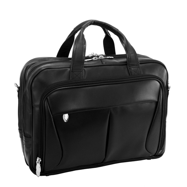 "McKlein PEARSON 17"" Leather Expandable Double Compartment Laptop Briefcase~84565"