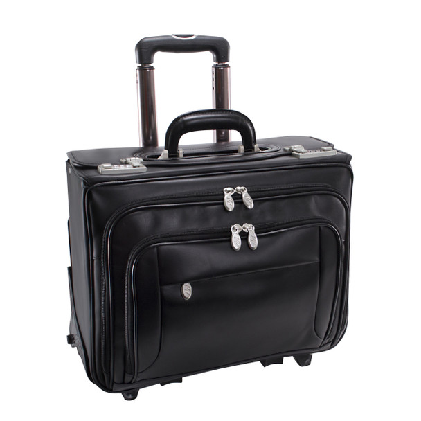 """McKlein SHERIDAN 15"""" Leather Patented Detachable -Wheeled Catalog Briefcase~84665"""
