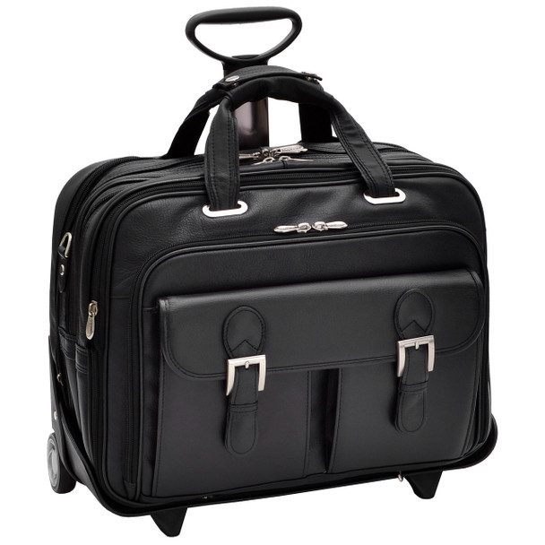 "Siamod CERESOLA 15"" Leather Checkpoint-Friendly Patented Detachable Wheeled Laptop Briefcase~4600"