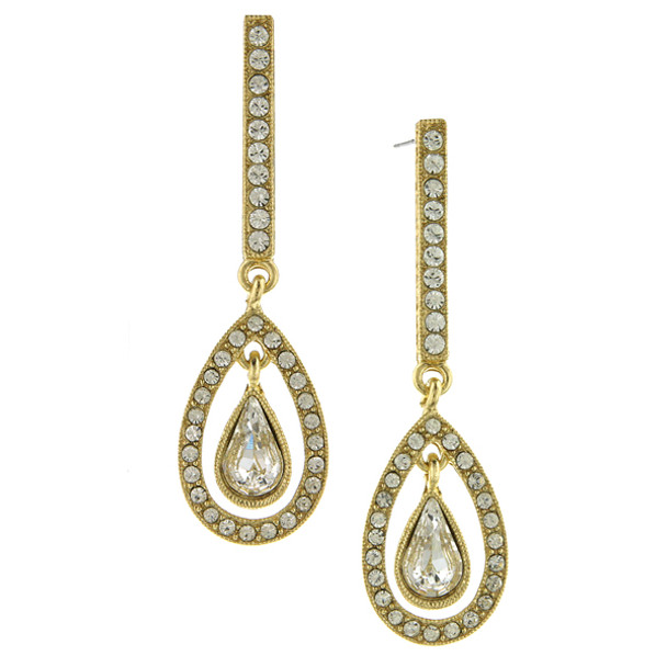 Gold-Tone Crystal Enclosed Pear-Shaped Linear Earrings~24236