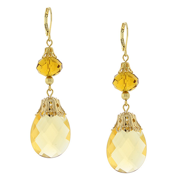 Gold-Tone Topaz Crystal Drop Earrings~25148