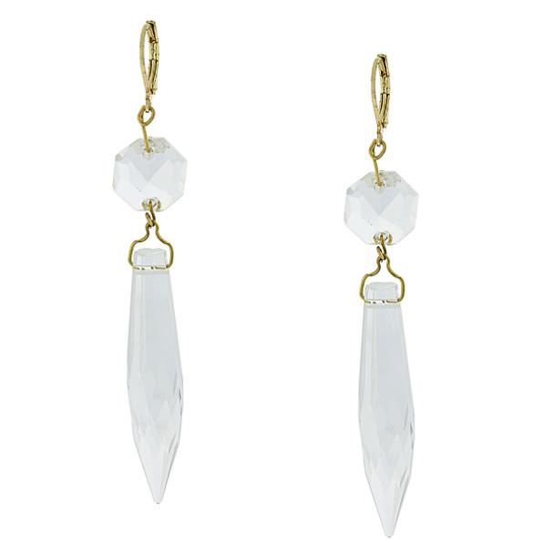 Gold-Tone Clear Crystal Linear Drop Earrings~25738