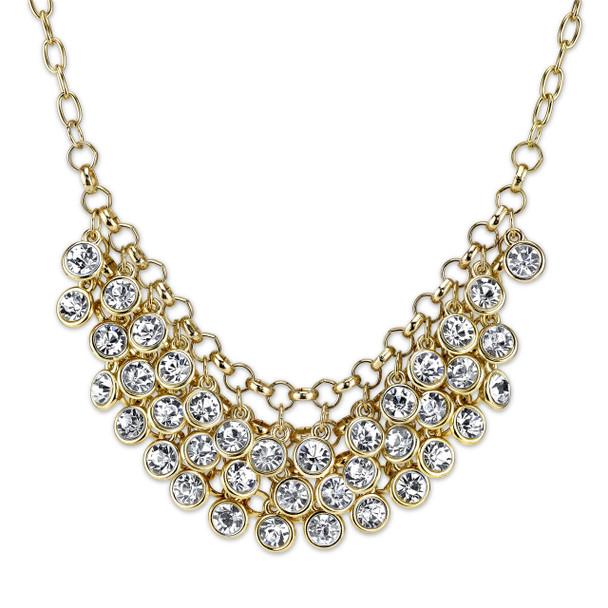 """16"""" Adjustable Gold-Tone Crystal Cluster Bib Necklace~45381"""