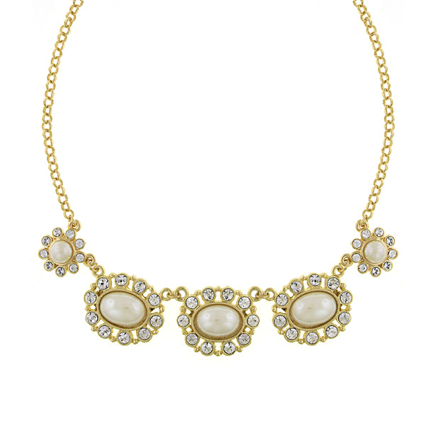 """16"""" Adjustable Gold-Tone Simulated Pearl and Crystal Collar Necklace~48158"""