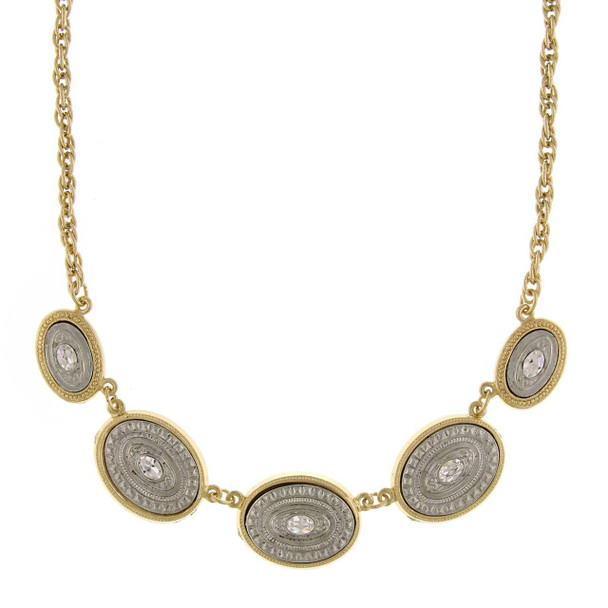 """16"""" Adjustable Gold/Silver-Tone Oval Station Necklace with Crystal Accents~48833"""