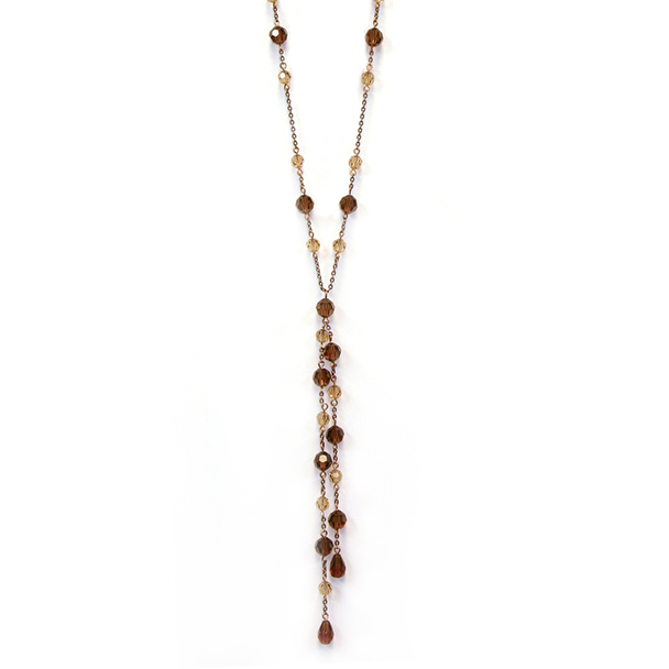 "28"" Burnished Copper-Tone Light Colorado and Smoked Topaz Beaded Necklace~51213"