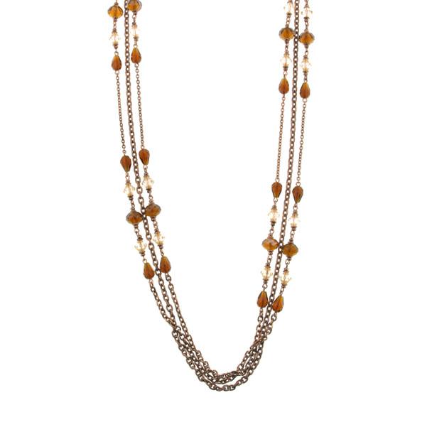 "38"" Long Copper 3-Strand Topaz Beaded Necklace~51939"