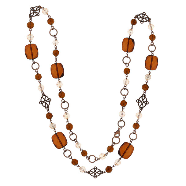 """42"""" Long Copper-Tone Topaz Beaded Necklace~52590"""
