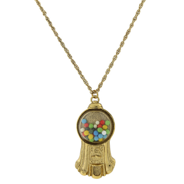 "30"" Gold-Tone Multi-Color Gumball Machine Pendant Necklace~52605"