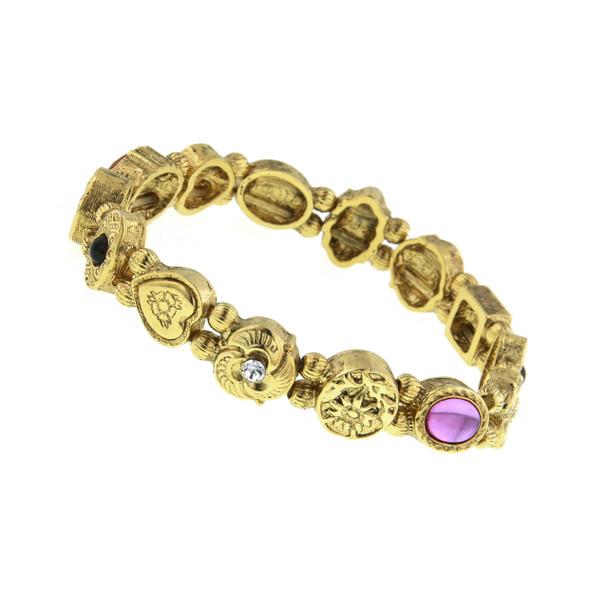 Gold-Tone Charm Stretch Bracelet~61397