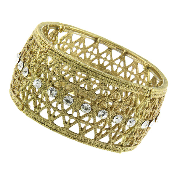 Gold-Tone Crystal Wide Filigree Stretch Bracelet~61493