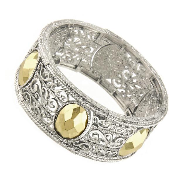Silver/Gold-Tone Filigree Stretch Bracelet~61515