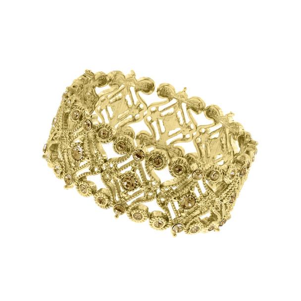 Gold-Tone Light Topaz Scroll Stretch Bracelet~61590