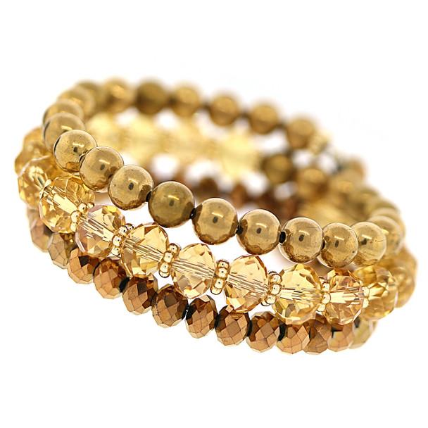 Gold-Tone Light Colorado Topaz Beaded Coil Bracelet~62030