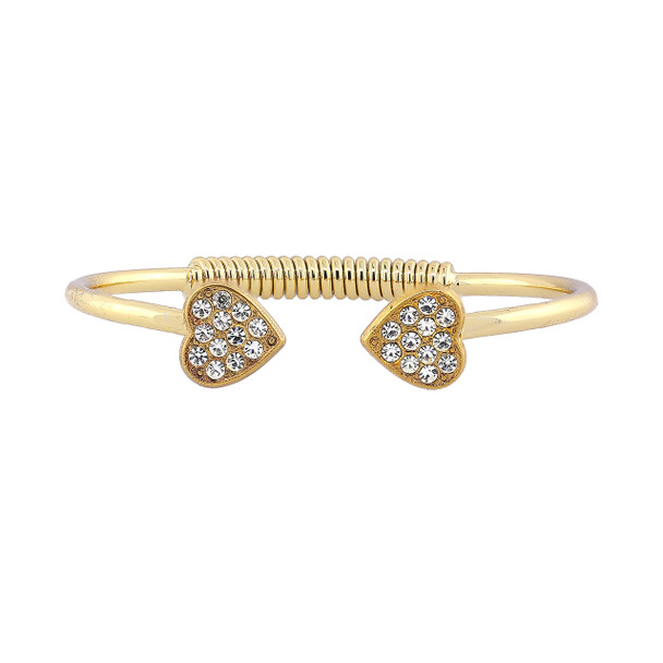 14K Gold-Dipped Pave Crystal Heart Coil Spring C-Cuff Bracelet~62559