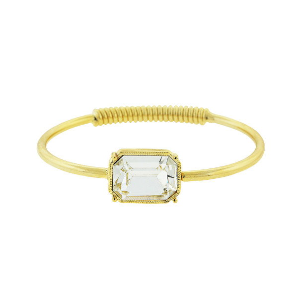 Gold-Tone Coil Spring Bracelet with Clear Swarovski Crystal~62578