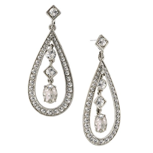 Silver-Tone Crystal Caged Mixed Shape Drop Earrings~24443