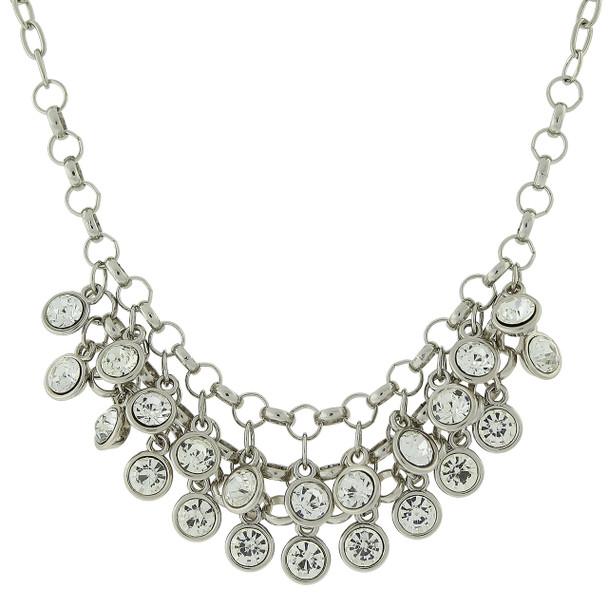 "16"" Adjustable Silver-Tone Crystal Cluster Bib Necklace~44420"