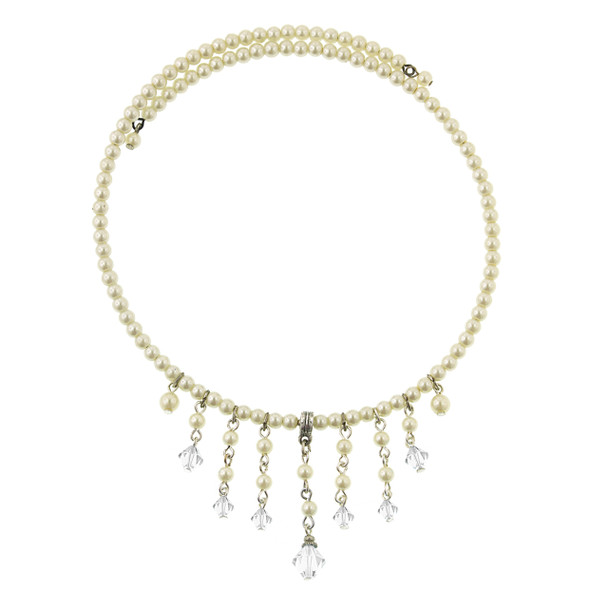 """15.5"""" Silver-Tone Crystal Simulated Pearl Beaded Coil Necklace~44802"""