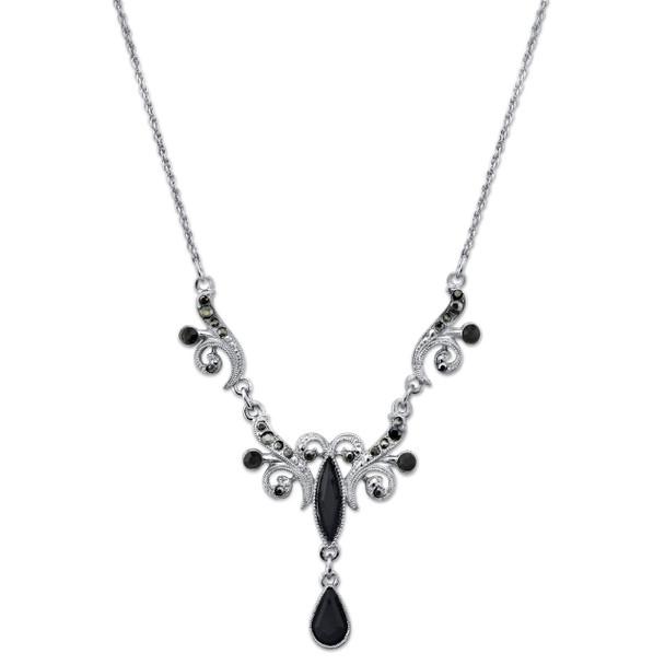 """16"""" Adjustable Silver-Tone/Black and Hematite Crystal Teardrop Collar Necklace~48896"""