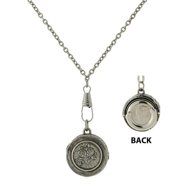 "30"" Silver-Tone Dime Holder Pendant Necklace~52665"