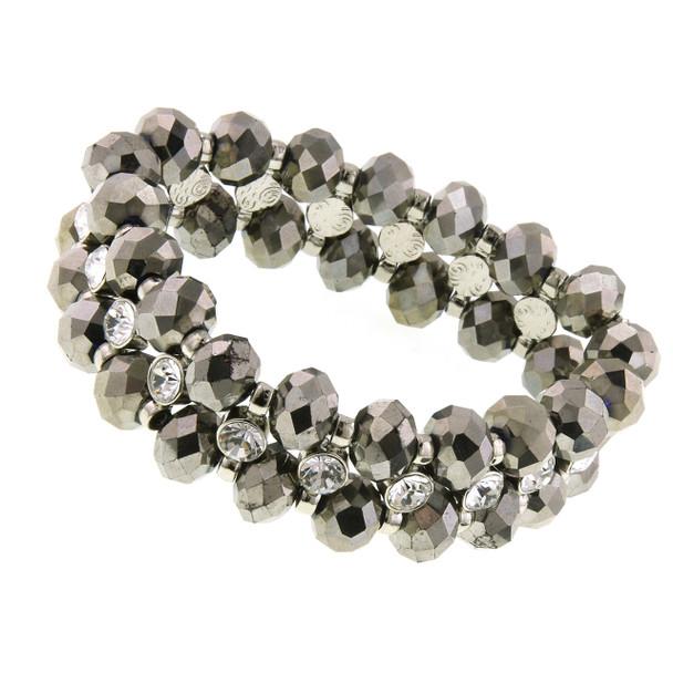 Silver-Tone Hematite Crystal Stretch Bracelet~60434