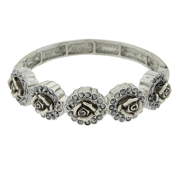 Silver-Tone Crystal Flower Stretch Bracelet~61603